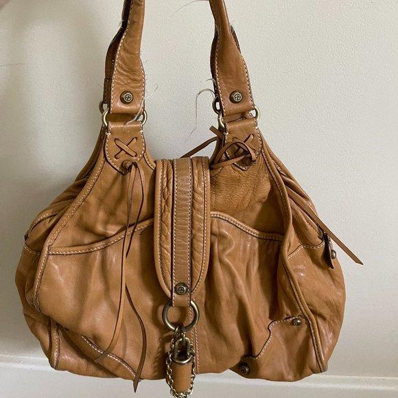 Francesco Biasia Large Beige Cowhide Shoulder Bag